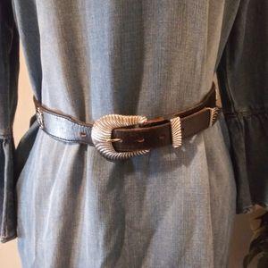 Vintage 1860 Levi's Black Leather Western Belt